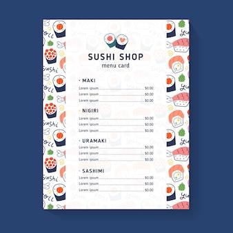 Modèle de menu de boutique de sushi