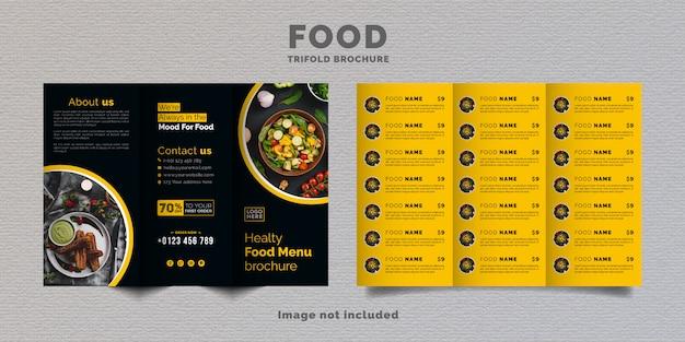 Modèle de menu de brochure à trois volets alimentaire. brochure de menu de restauration rapide pour restaurant de couleur jaune et bleu foncé.