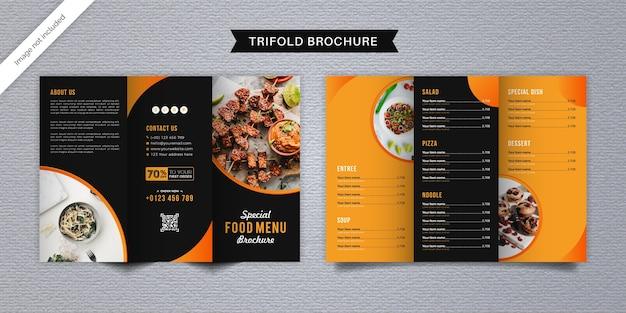 Modèle De Menu De Brochure à Trois Volets Alimentaire Vecteur Premium