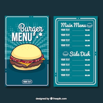 Modèle de menu burger bleu