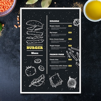 Modèle de menu burger dessiné à la main