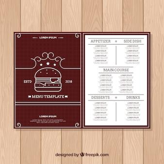 Modèle de menu burger house au design plat