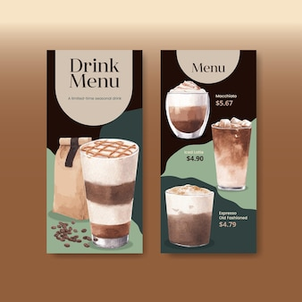 Modèle de menu avec café dans un style aquarelle