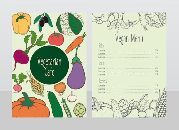 Modèle de menu de café végétarien dessiné à la main