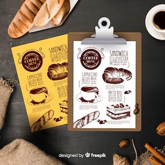 Modèle de menu café vintage