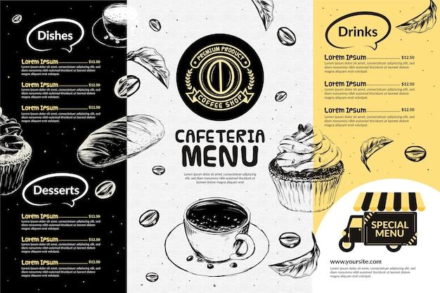 Modèle de menu de cafétéria