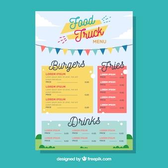 Modèle de menu de camion alimentaire avec style heureux