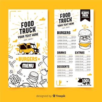 Modèle de menu de camion de nourriture dessinés à la main