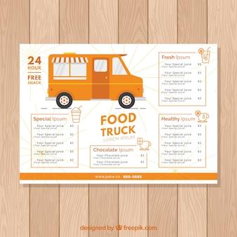Modèle de menu de camion de nourriture orange