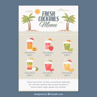Modèle de menu cocktail au design plat
