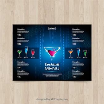 Modèle de menu cocktail bleu élégant