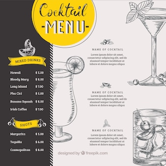 Modèle de menu cocktail dans un style dessiné à la main