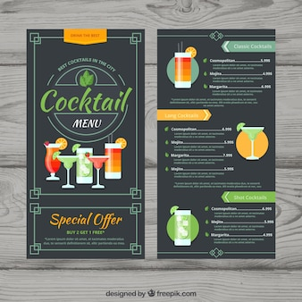 Modèle de menu cocktail dans un style plat