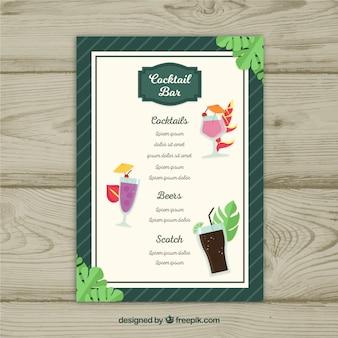 Modèle de menu cocktail avec un design plat