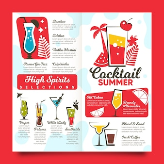 Modèle de menu de cocktail design plat