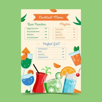 Modèle de menu cocktail dessiné à la main