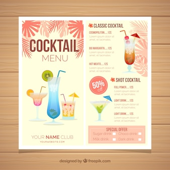 Modèle De Menu Cocktail Avec Des Feuilles De Palmier Vecteur gratuit