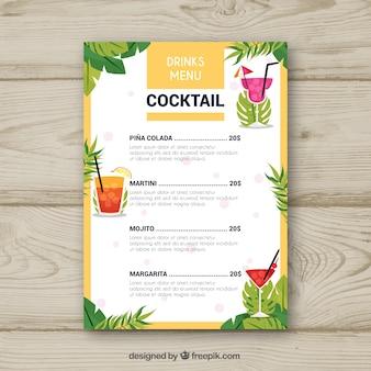 Modèle de menu cocktail avec des feuilles de palmier