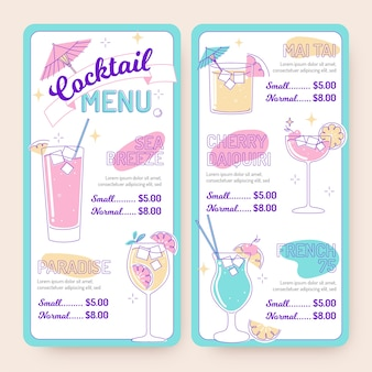 Modèle de menu de cocktail illustré