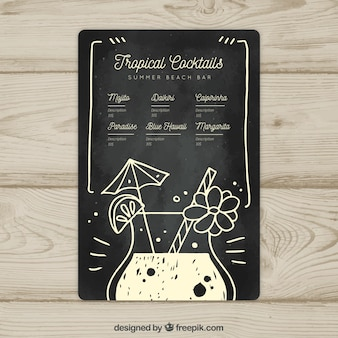 Modèle de menu cocktail noir et blanc