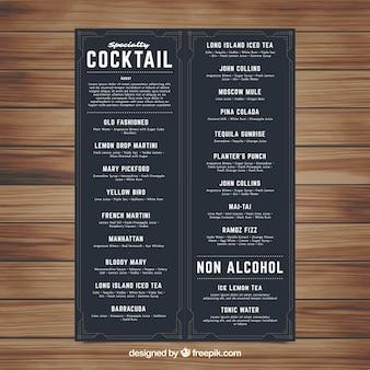 Modèle de menu cocktail avec style élégant