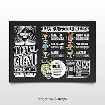 Modèle de menu cocktail vintage