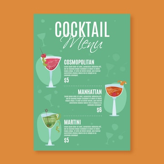 Modèle de menu de cocktail