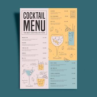 Modèle de menu de cocktail