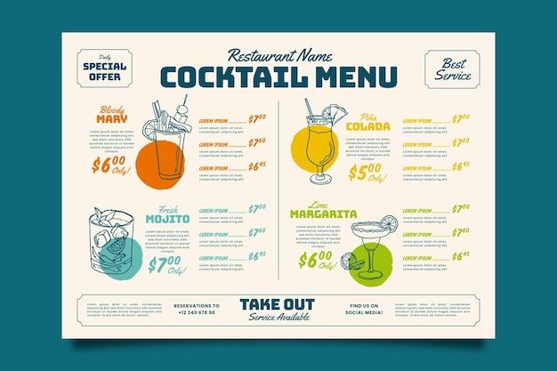 Modèle de menu de cocktails colorés
