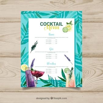 Modèle de menu de cocktails dans un style aquarelle