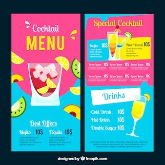 Modèle de menu de cocktails dans le style plat