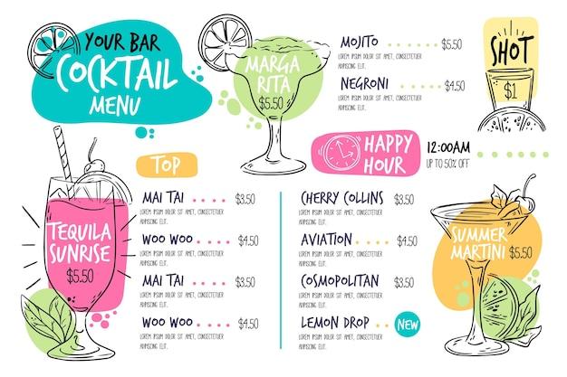 Modèle de menu de cocktails dessinés à la main