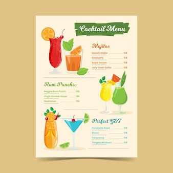 Modèle de menu de cocktails dessinés à la main