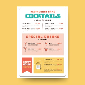 Modèle de menu de cocktails minimaliste