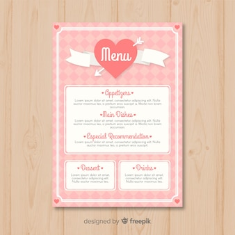 Modèle de menu coeur saint-valentin avec ruban