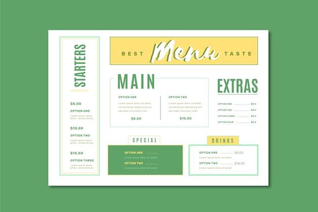 Modèle de menu coloré d'aliments sains