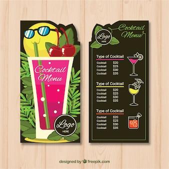 Modèle de menu coloré pour les cocktails