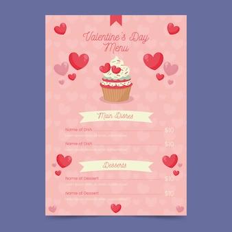 Modèle de menu coloré pour la saint-valentin