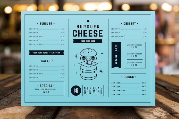 Modèle de menu coloré de restaurant