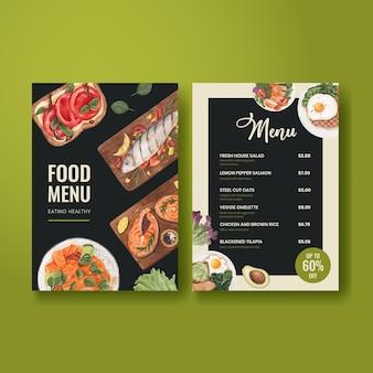 Modèle de menu avec concept d'alimentation saine, style aquarelle