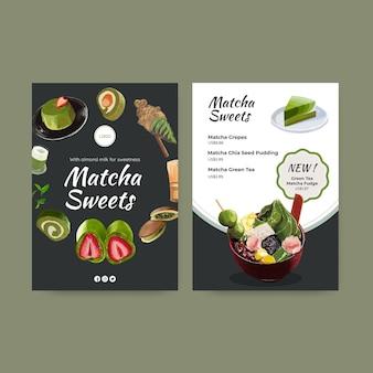 Modèle de menu avec concept de bonbons matcha, style aquarelle