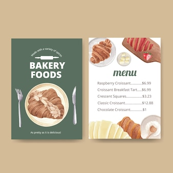 Modèle de menu avec concept croissant, style aquarelle