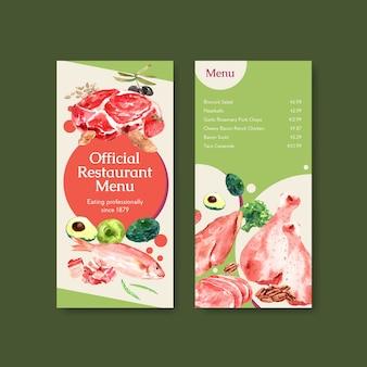 Modèle de menu avec concept de régime cétogène pour illustration aquarelle de restaurant et épicerie.