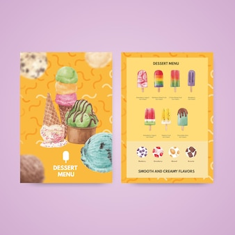 Modèle de menu avec concept de saveur de crème glacée, style aquarelle
