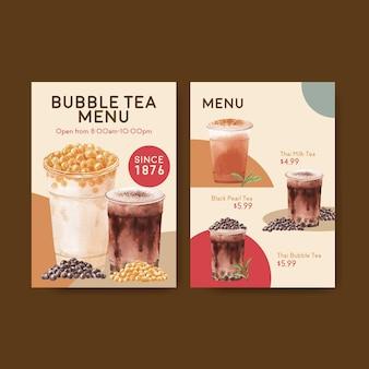 Modèle de menu avec concept de thé au lait à bulles