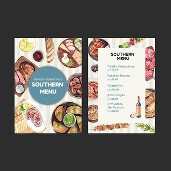 Modèle de menu avec conception de concept de cuisine espagnole pour illustration aquarelle bisto et restaurant