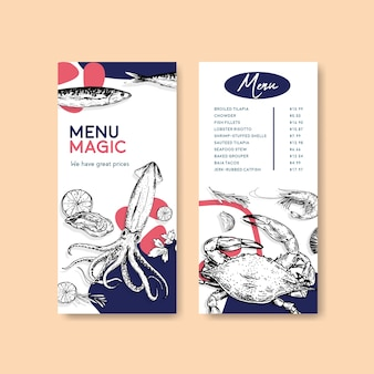 Modèle de menu avec conception de concept de fruits de mer pour la publicité et l'illustration marketing