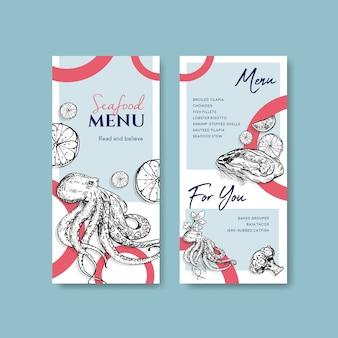 Modèle de menu avec conception de concept de fruits de mer pour la publicité et l'illustration marketing