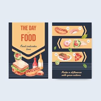 Modèle de menu avec la conception de concept de la journée mondiale de l'alimentation pour l'aquarelle de restaurant et d'alimentation