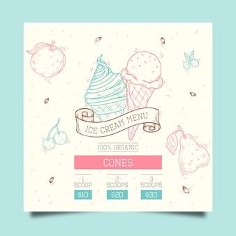 Modèle de menu de crème glacée dessiné à la main